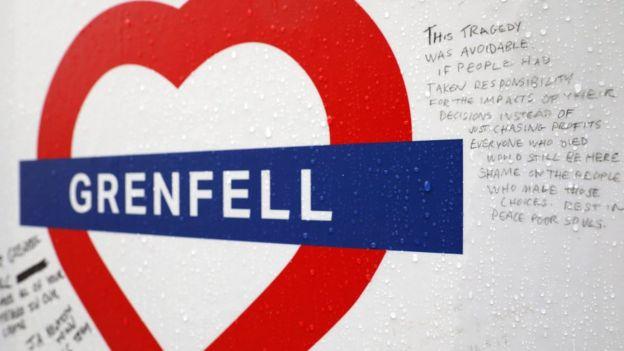 Grenfell Tower çevresindeki duvar yazılamaları